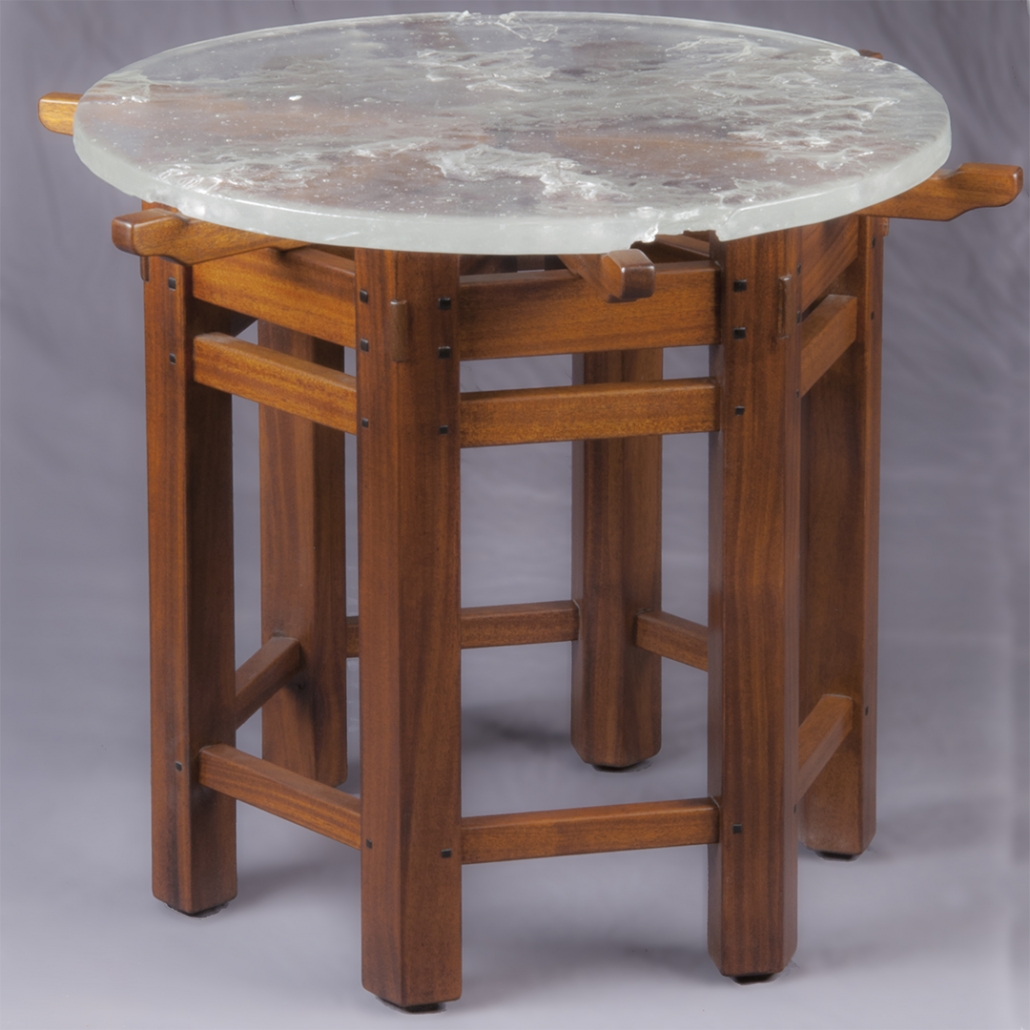 Greene & Greene Table with six sides and a fused glass top
